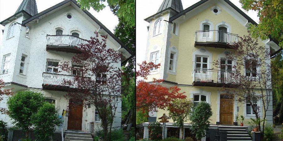 Fassadengestaltung an altem Gebäude. Links vorher rechts nachher.