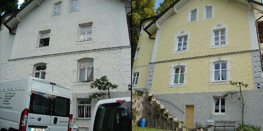 Vorher Nachher Ansicht von Arbeiten an einer Hausfassade.